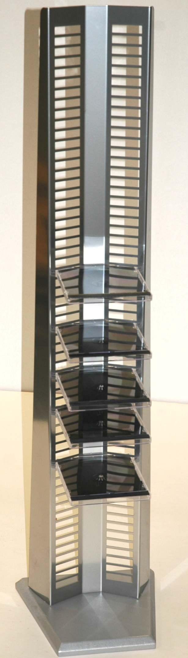 Silver wood chrome rack cd storage tower ebay - Cd storage rack tower ...