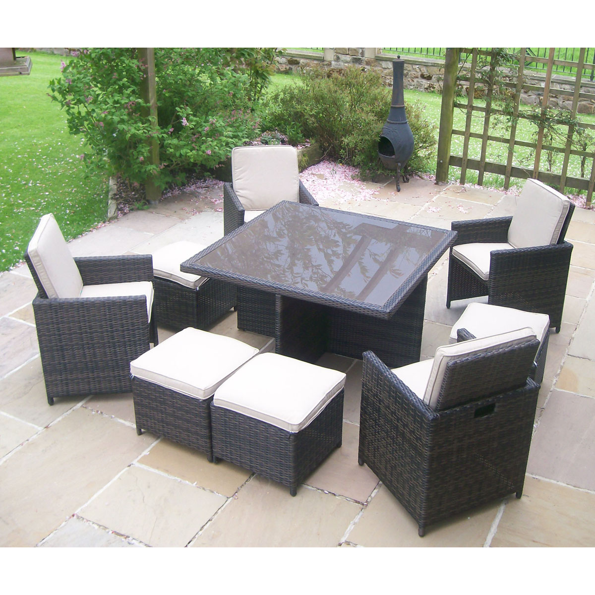 rattan wicker garden furniture table 4 chair patio set enlarged
