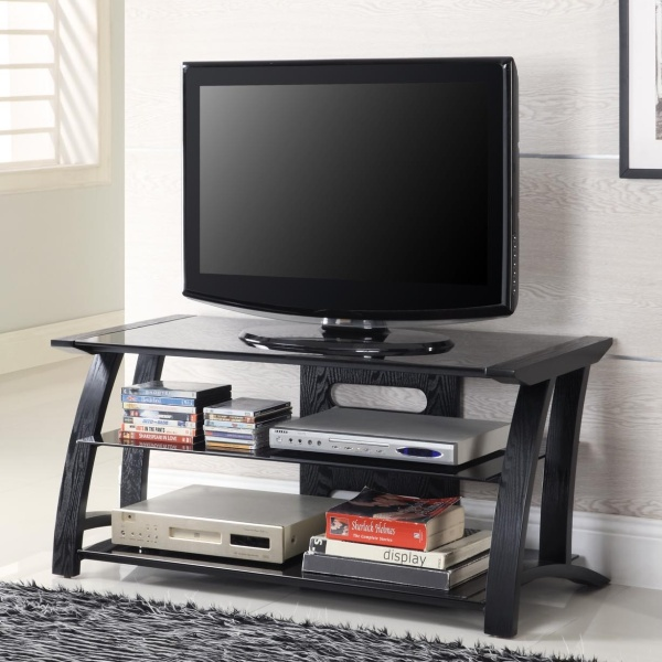 black ash flat screen 2 glass shelf tv stand black shelves. Black Bedroom Furniture Sets. Home Design Ideas