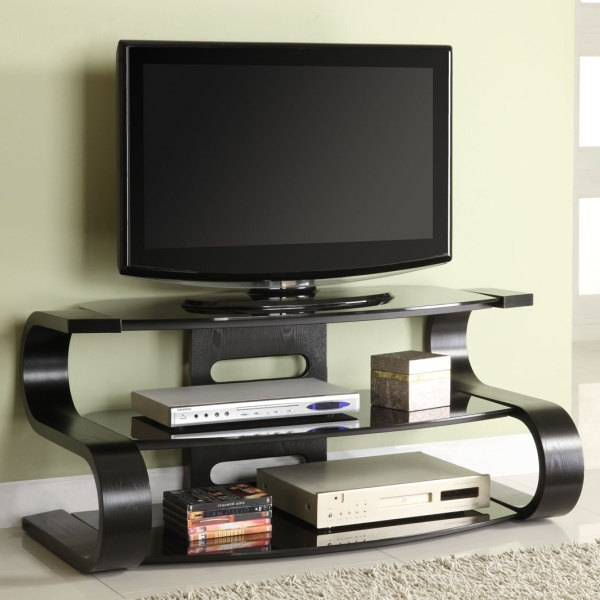 curved black ash wood veneer flat screen 2 shelf lcd. Black Bedroom Furniture Sets. Home Design Ideas