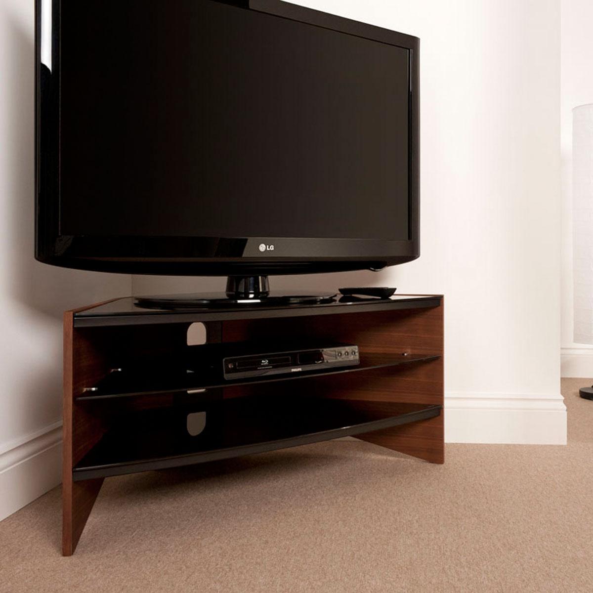 walnut 3 black glass shelf corner lcd plasma tv stand 32 42 inch screens ebay. Black Bedroom Furniture Sets. Home Design Ideas