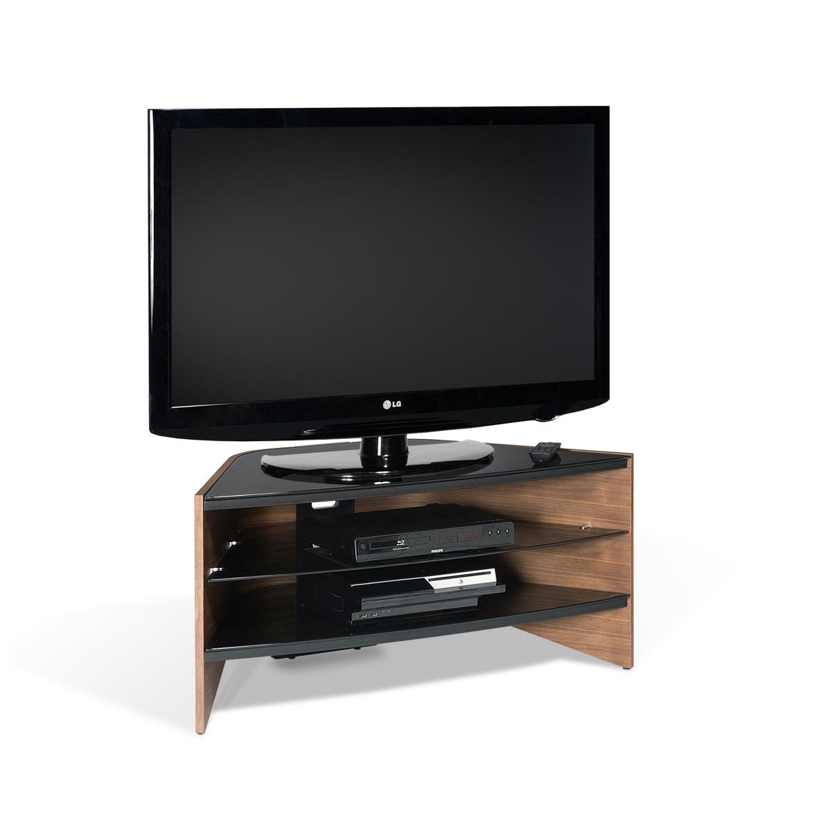 Walnut 3 Black Glass Shelf Corner LCD Plasma TV Stand 32