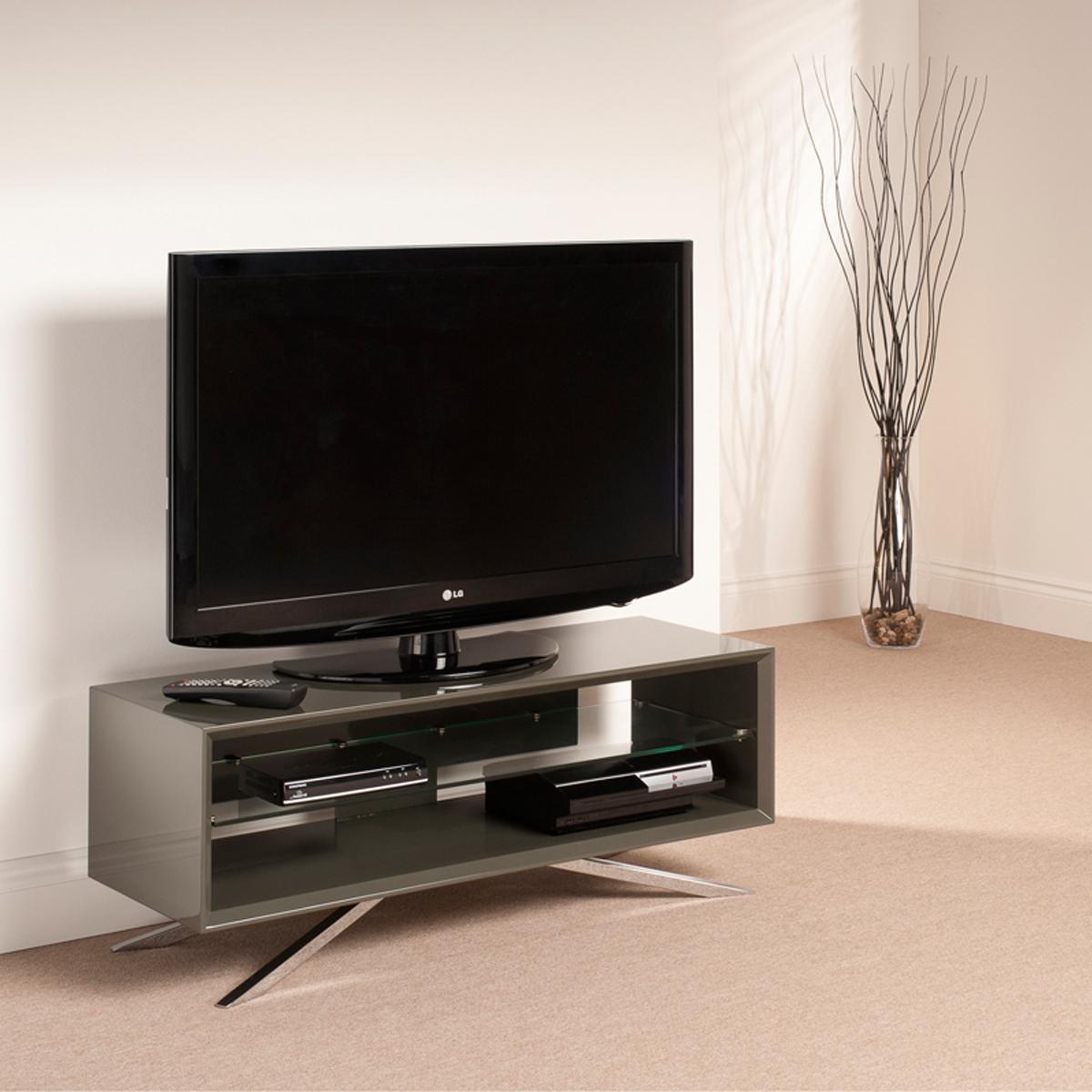 Grey Low Level Clear Glass Shelf Lcd Plasma Tv Stand 42