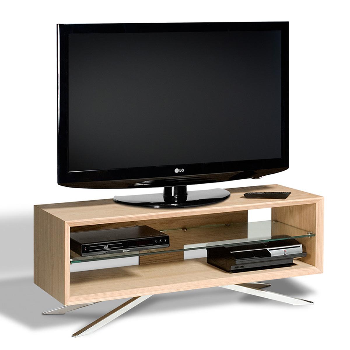 light oak low level clear glass shelf lcd plasma tv stand 42 inch screens. Black Bedroom Furniture Sets. Home Design Ideas