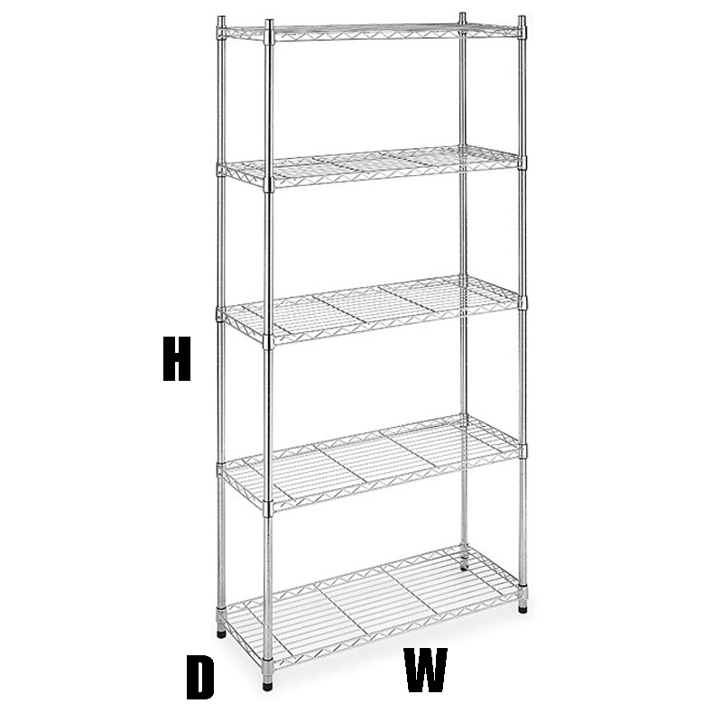 5 shelf 72 hx36 wx14 d chrome wire home kitchen garage. Black Bedroom Furniture Sets. Home Design Ideas