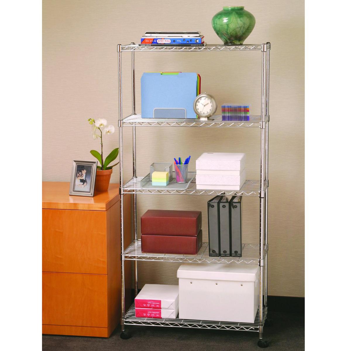 Kitchen Storage Shelves: Wire Metal Shelving Storage With Wheels X5 Tier Shelf