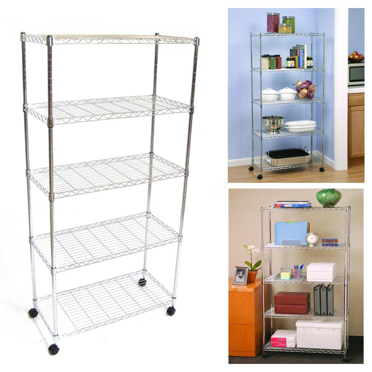 5 Shelf Wire Metal Shelving Storage Mobile Garage Kitchen