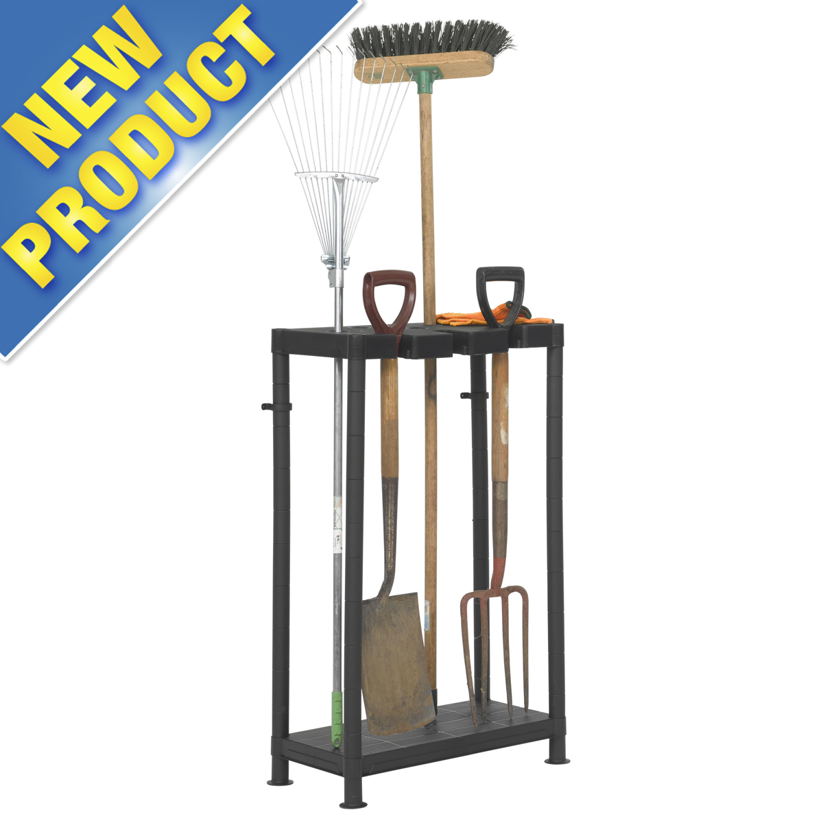 Garden tool storage organizer rack for garage or shed for Garden shed shelving