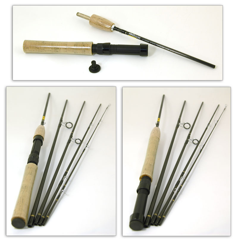 Bison 5 section travel fly spinning rod 8 39 4 6 rod for Fishing rod tubes