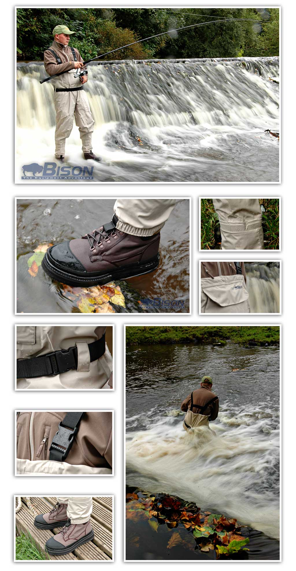 BISON BREATHABLE STOCKING FOOT CHEST WADERS M,L XL,XXL Enlarged Preview