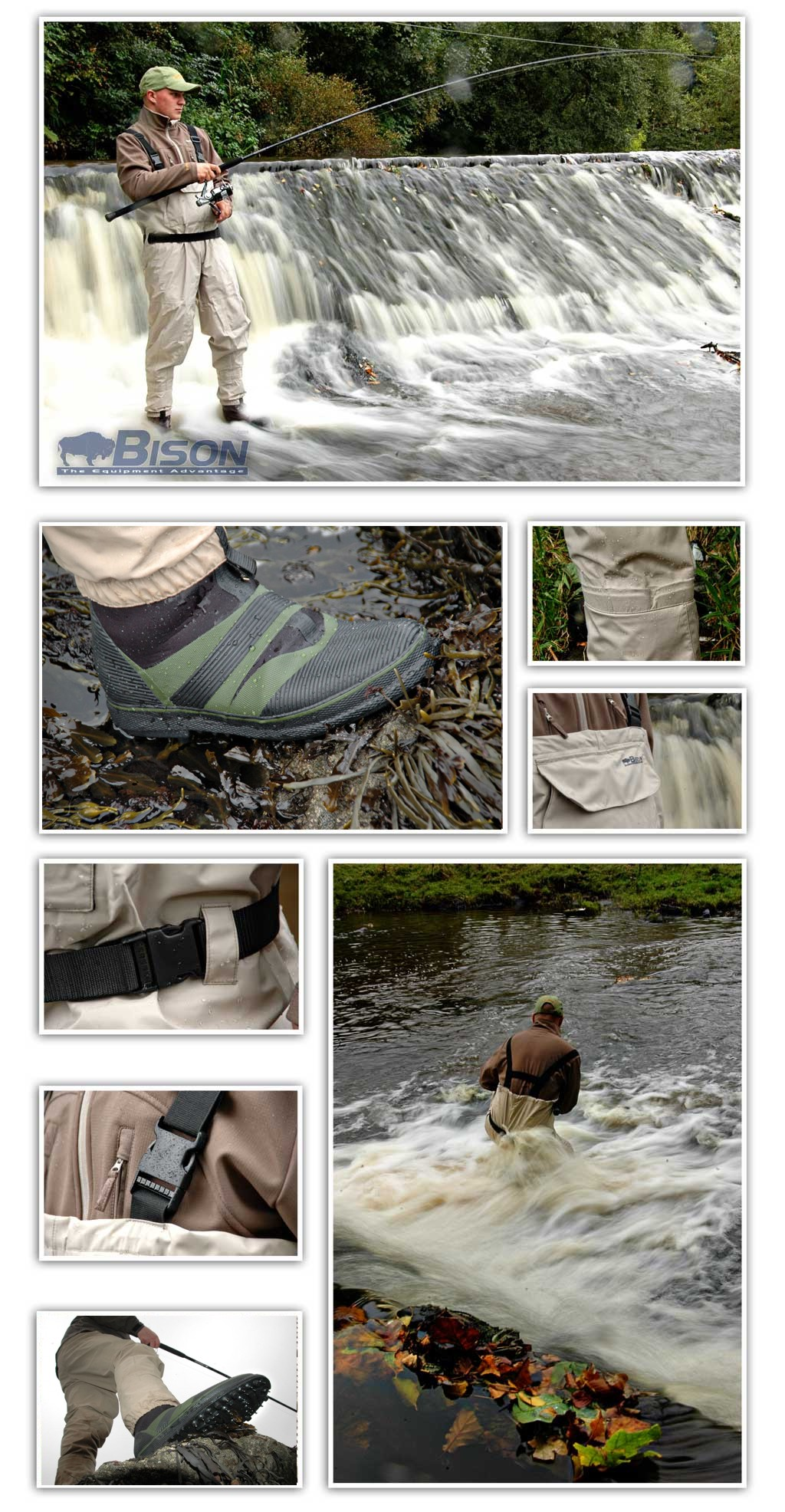 BISON BREATHABLE CHEST WADERS  /& BEARCLAW WADING BOOTS