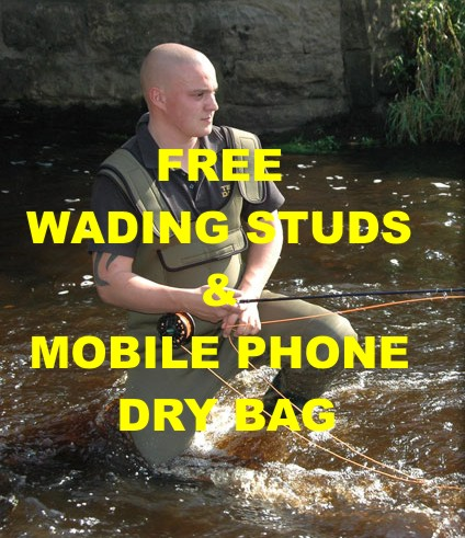 BISON 4MM NEOPRENE CHEST WADERS ALL SIZES WITH FREE MOBILE PHONE DRY BAG & STUDS Enlarged Preview