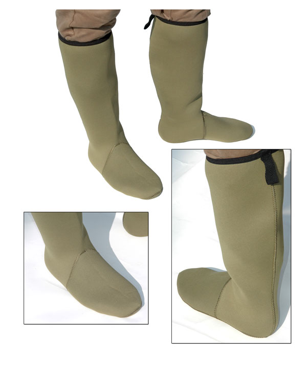 NEW NEOPRENE KNEE LENGTH BOOT SOCK 4MM GREEN ALL SIZES Enlarged Preview