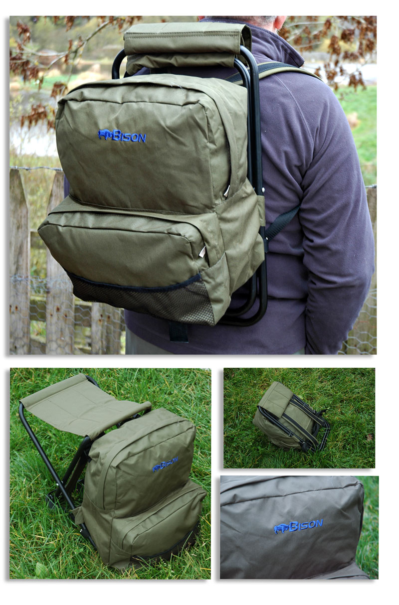 Bison camping fishing rucksack backpack seat chair ebay for Fishing backpack chair