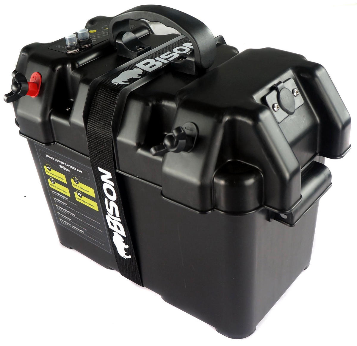 Bison Battery Box Carrier With Usb Charger Led Meter