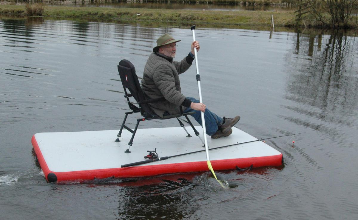 Bison marine inflatable dock swim work fishing platform for Fishing pontoon boat reviews