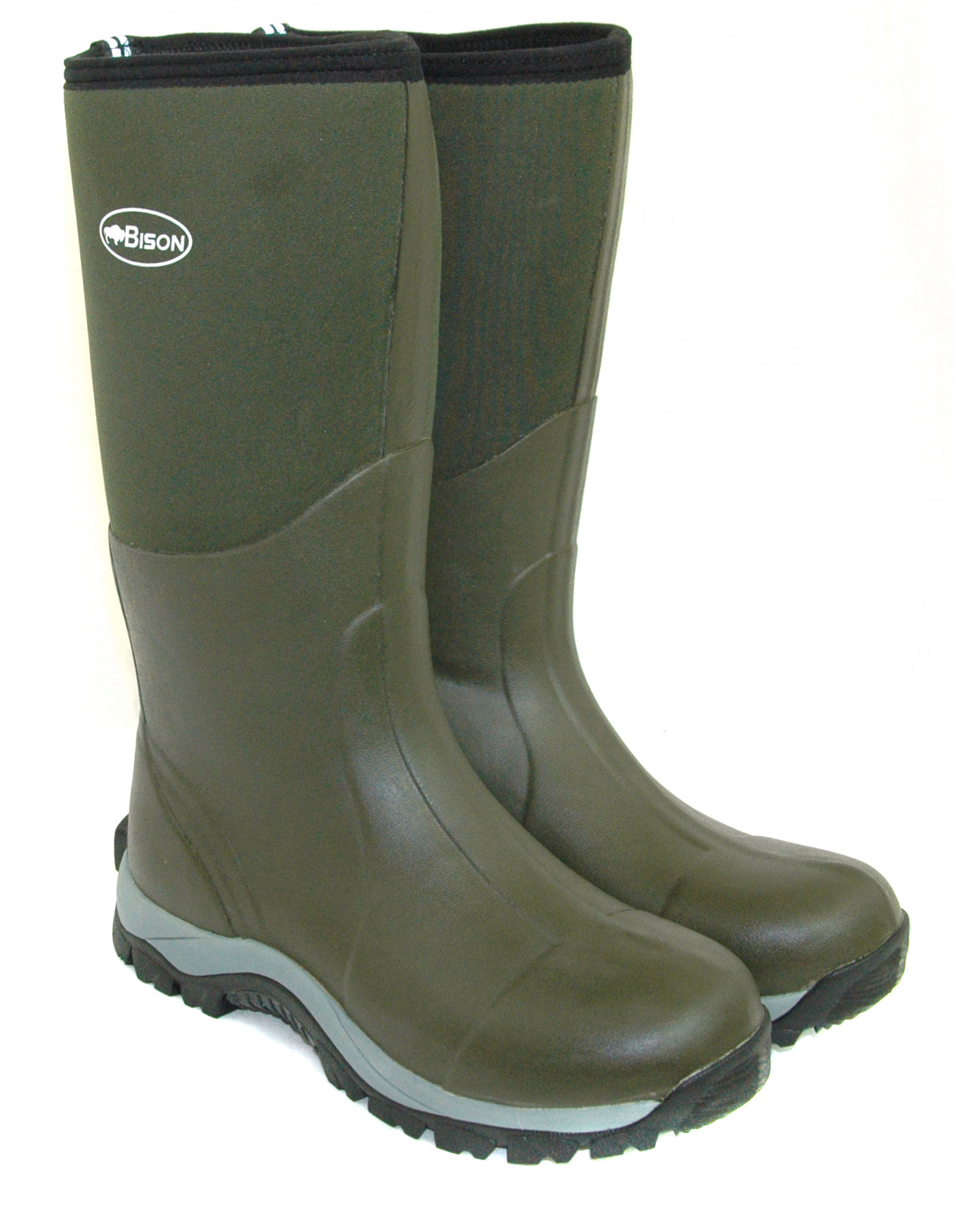 Bison 10mm winter neoprene wellington muck boot bison for Fishing waders with boots