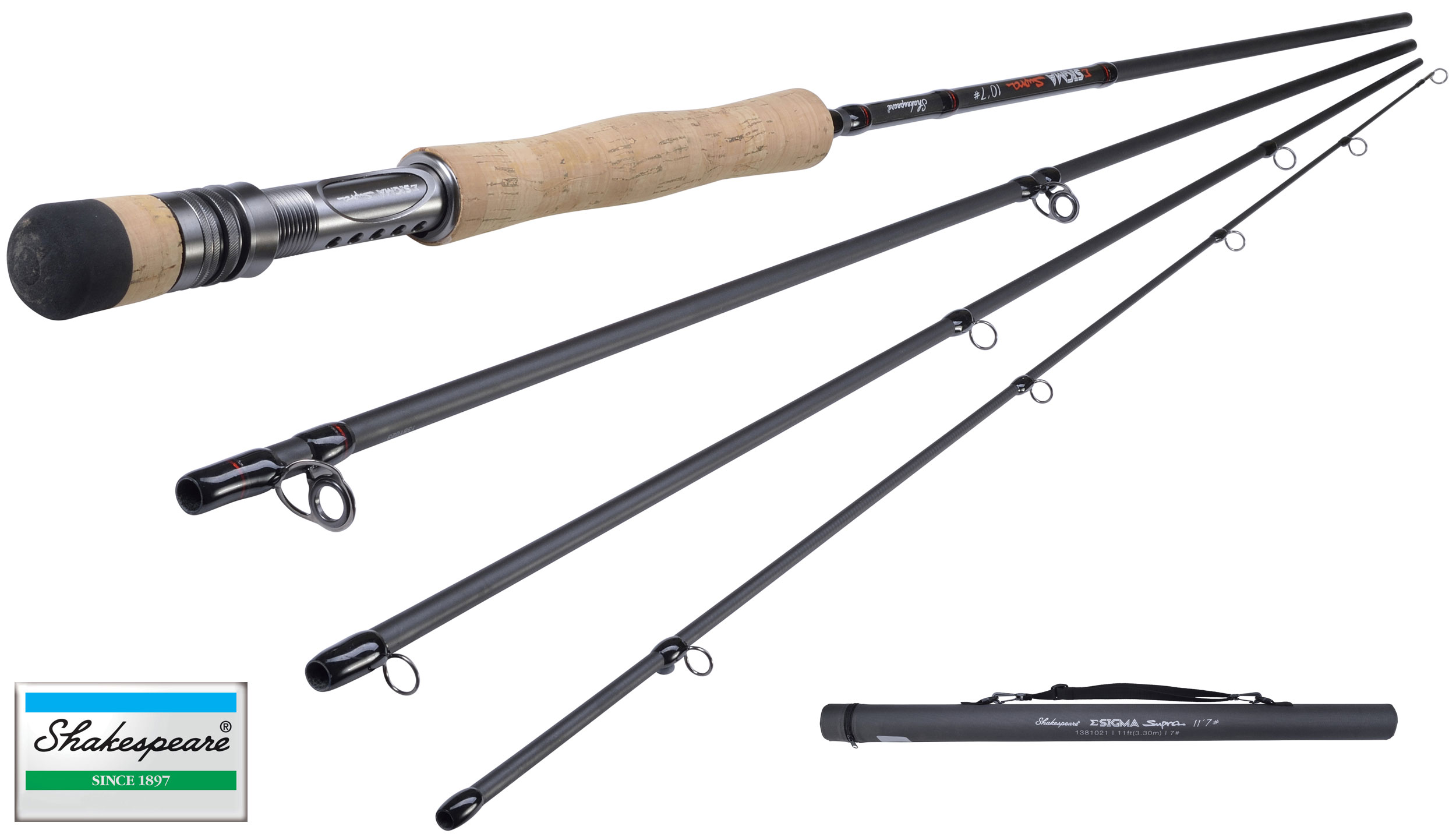 new shakespeare sigma supra fly fishing rod 7ft - 11ft 4pc all, Fishing Reels