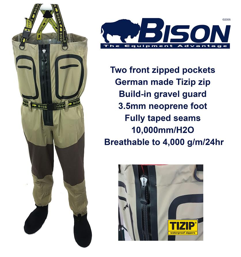BISON BREATHABLE ZIP FELT FRONT WADERS COMPLETE WITH RUBBER OR FELT ZIP SOLE WADING Stiefel 8b83a3