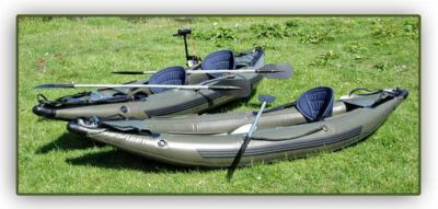 INFLATABLE 2 MAN  FISHING KAYAK CANOE +  OUTBOARD MOTOR Enlarged Preview