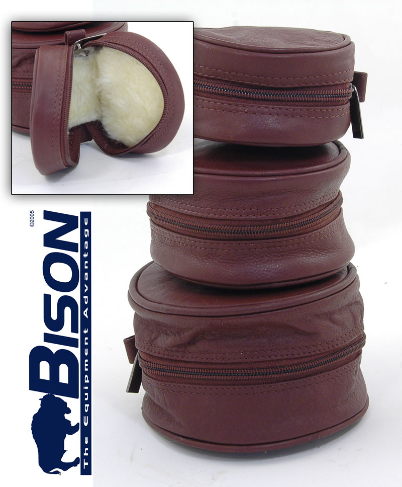 BISON SOFT LEATHER FLY REEL CASE 3 SIZES AVAILABLE Enlarged Preview