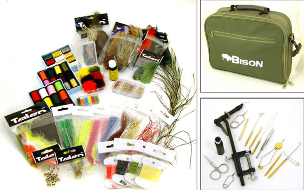 Bison complete fly tying kit in cordura carry case for Fly fishing tying kit