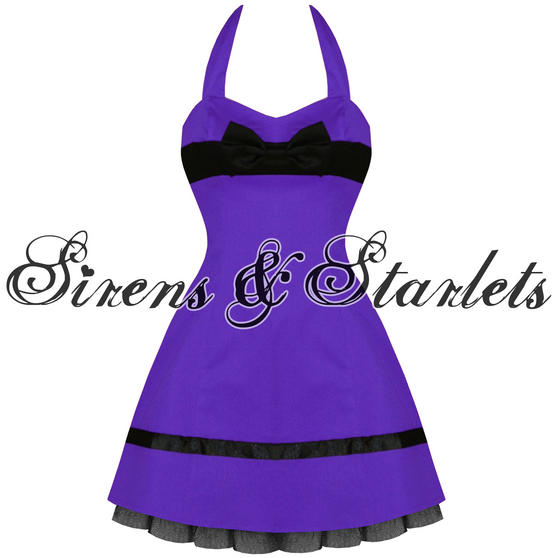 Hearts and Roses London Purple Bow 1950s Mini Dress