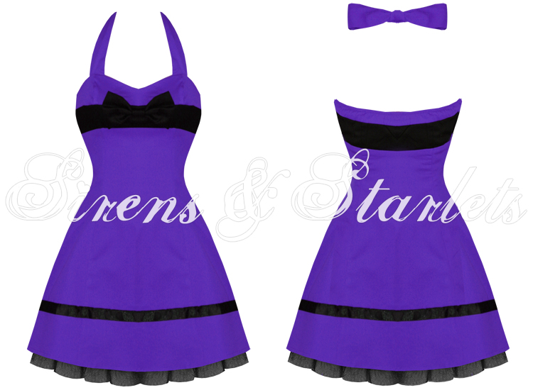 PURPLE BOW GOTH EMO PUNK MINI PROM PARTY CLUBBING DRESS