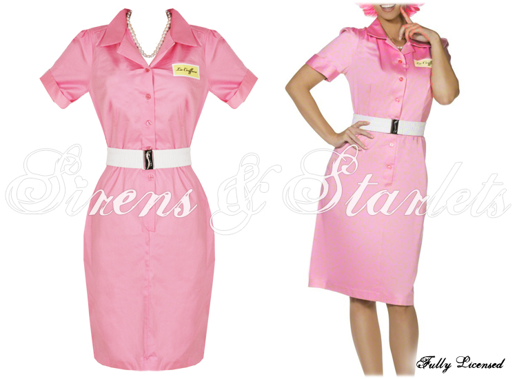 pink frenchy grease beautician 50s pencil fancy dress ebay. Black Bedroom Furniture Sets. Home Design Ideas