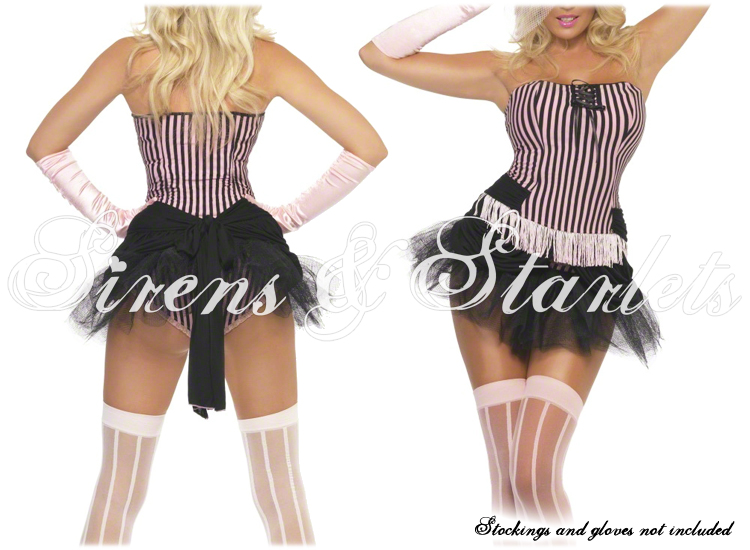 BLACK PINK BURLESQUE MOULIN ROUGE FANCY DRESS OUTFIT | eBay
