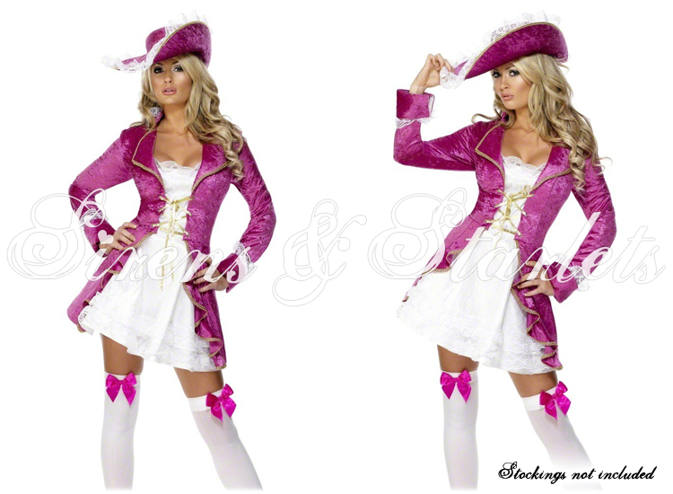 PINK SEXY PIRATE NAUTICAL FANCY DRESS JACKET HAT OUTFIT