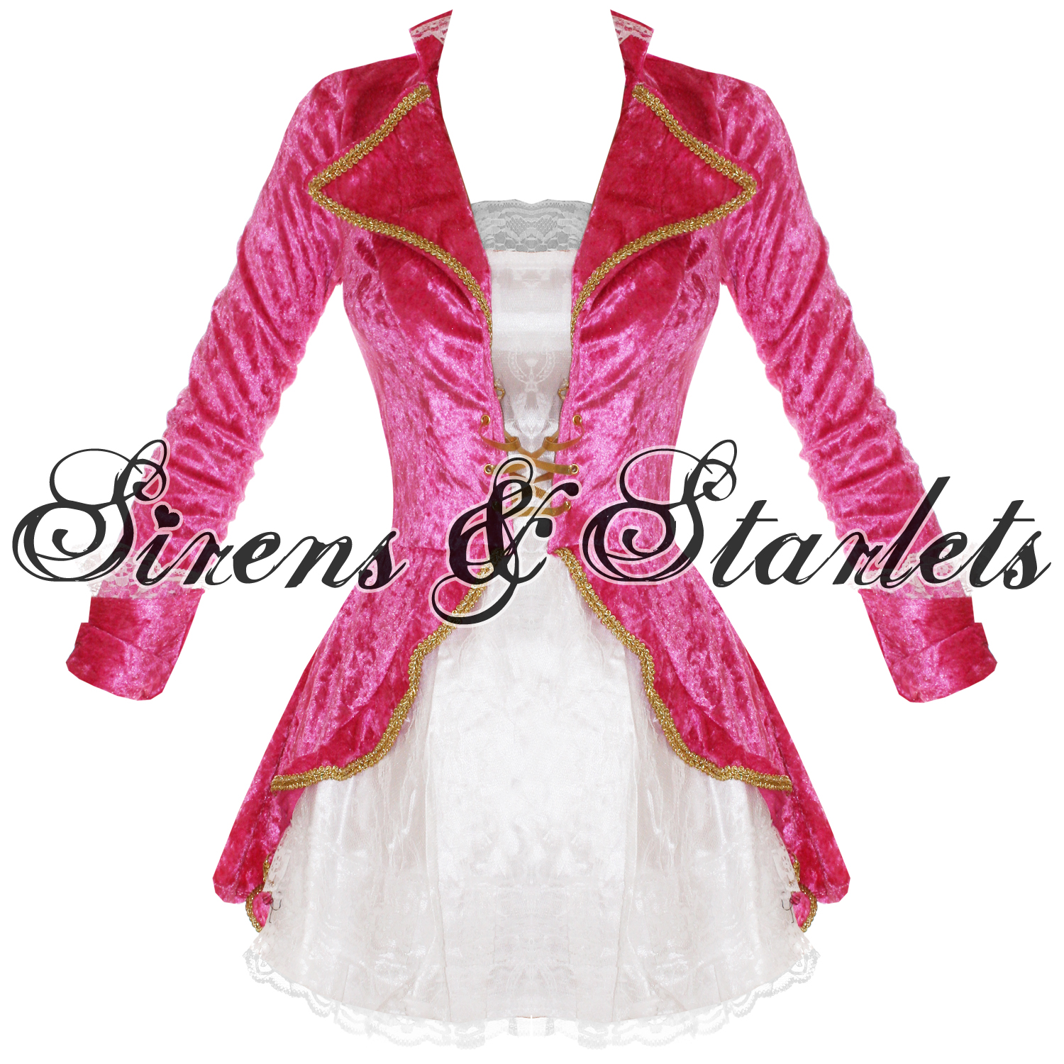 PINK-SEXY-PIRATE-NAUTICAL-FANCY-DRESS-JACKET-HAT-OUTFIT