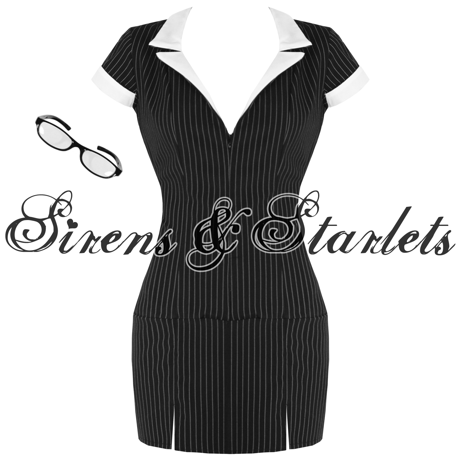 SEXY-SECRETARY-PINSTRIPE-FANCY-MINI-PENCIL-DRESS-OUTFIT