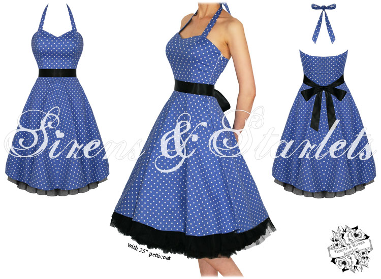 50er jahre kleid damen blau gepunktet schwingend. Black Bedroom Furniture Sets. Home Design Ideas