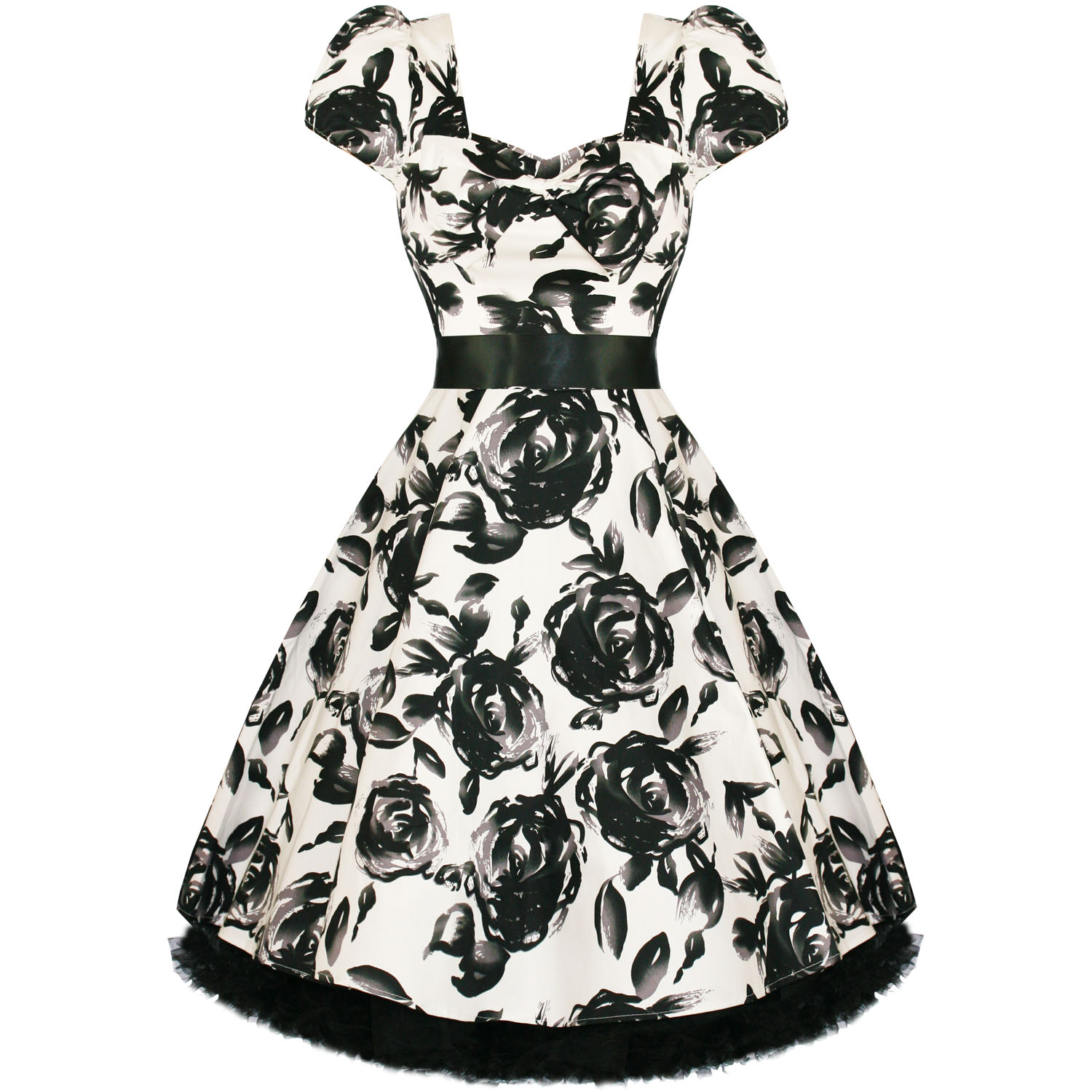 NEW-LADIES-WHITE-FLORAL-RETRO-VINTAGE-50S-STYLE-SWING-PARTY-PROM-DRESS