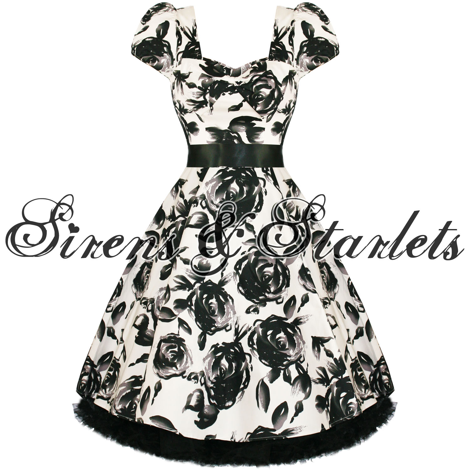 new ladies white floral retro vintage 50s style swing party prom dress. Black Bedroom Furniture Sets. Home Design Ideas