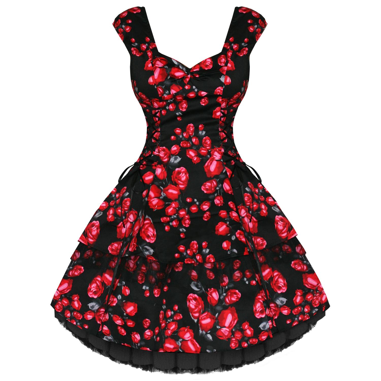 NEU Damen Schwarz Rot Blumenmuster Retro Vintage 50s Swing Partei ...