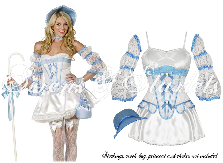 LADIES NEW SEXY WHITE BLUE CORSET LITTLE BO PEEP FANCY DRESS OUTFIT COSTUME