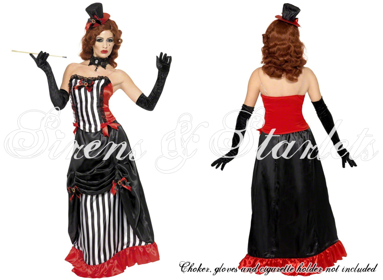 LADIES NEW BLACK STRIPE SEXY GOTHIC BURLESQUE VAMPIRE FANCY DRESS OUTFIT COSTUME
