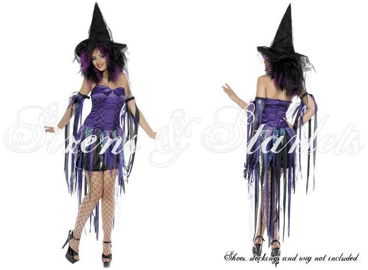 LADIES NEW SEXY PURPLE WITCH HALLOWEEN FANCY CORSET DRESS HAT OUTFIT COSTUME