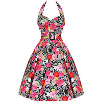 Hell Bunny Vonnie Black Pink Floral Skulls 50S Kitsch Vtg Summer Tea Prom Dress