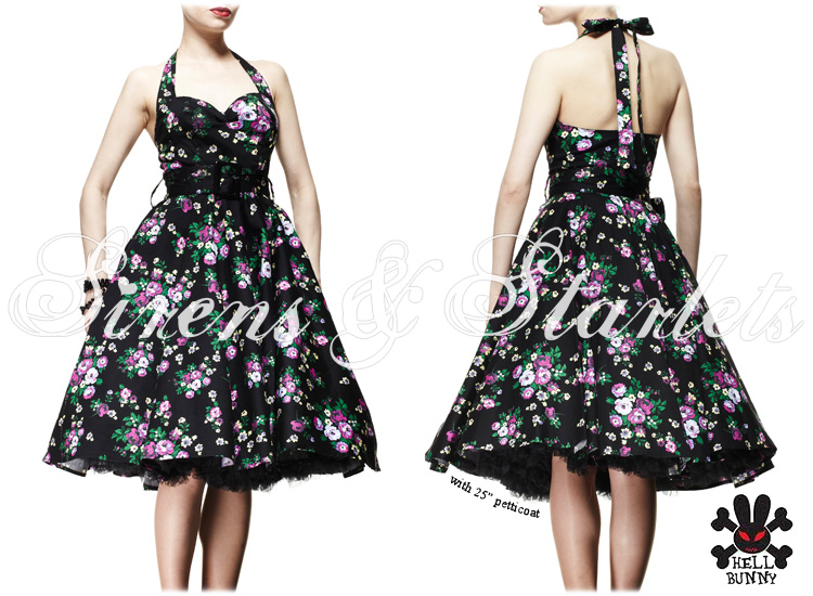HELL BUNNY MAY DAY BLACK FEMININE FLORAL 50S VTG KITSCH SWING PROM PARTY DRESS