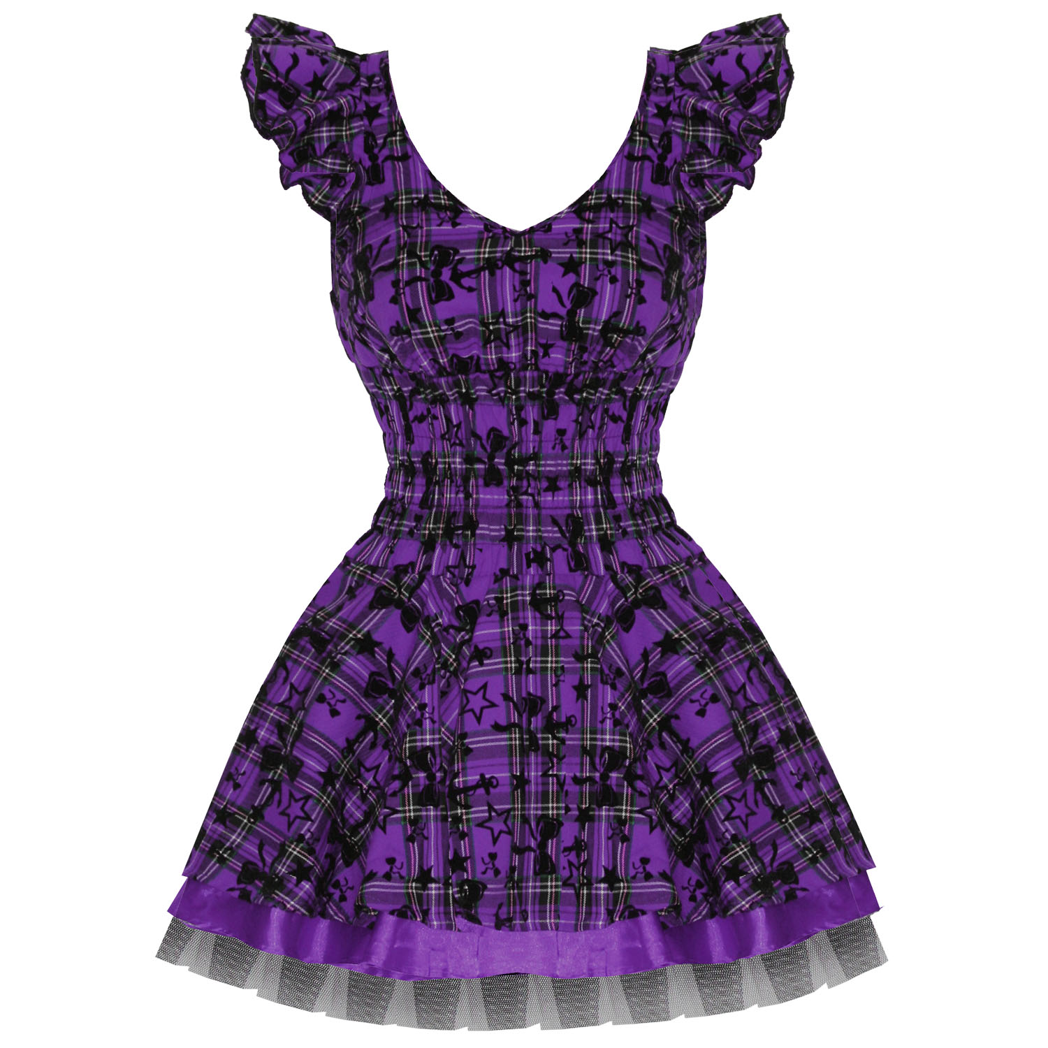 LADIES NEW HEARTS u0026 ROSES LONDON PURPLE TARTAN TATTOO PUNK EMO PROM PARTY DRESS | eBay
