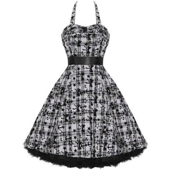 Hearts and Roses London Purple Tartan 1950s Dress