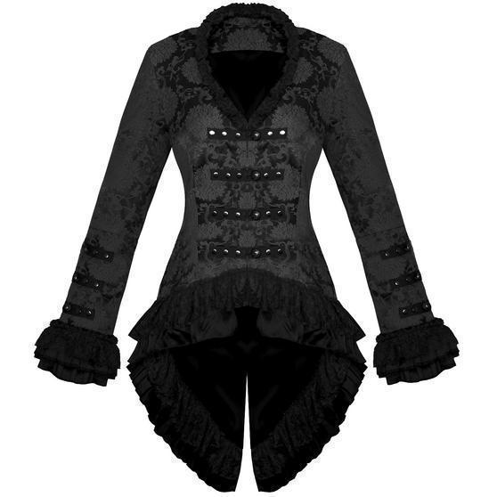 Hearts and Roses London Black Brocade Frock Coat