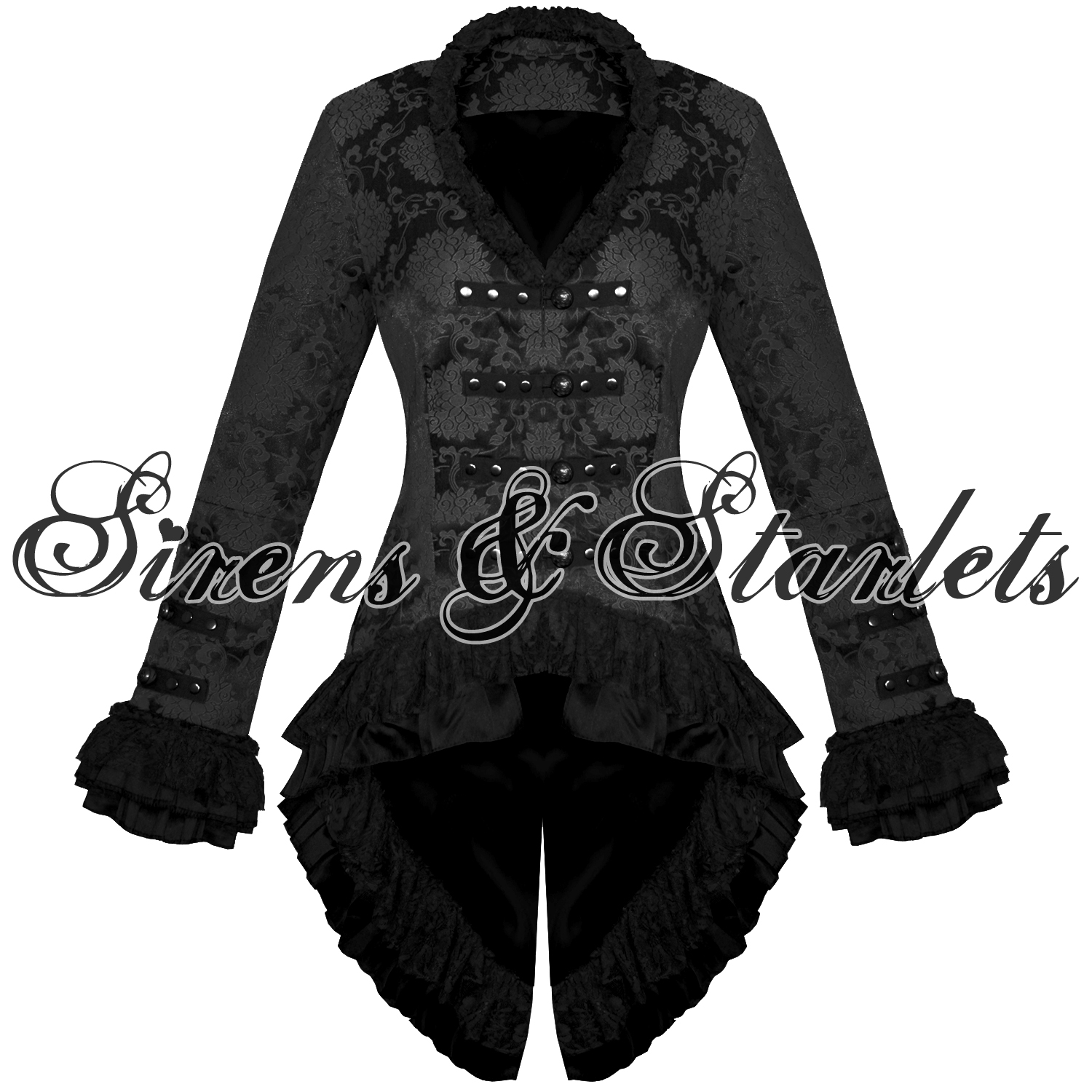 womens jacket coat black goth gothic military satin floral. Black Bedroom Furniture Sets. Home Design Ideas