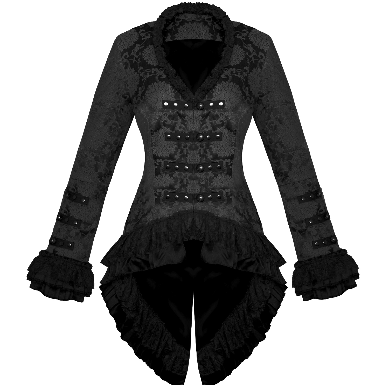 damen jacke mantel schwarz grufti gothic milit r satin. Black Bedroom Furniture Sets. Home Design Ideas