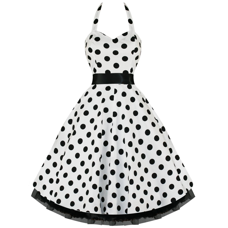 LADIES NEW WHITE POLKA DOT VTG 50S SWING PINUP PARTY PROM DRESS | eBay
