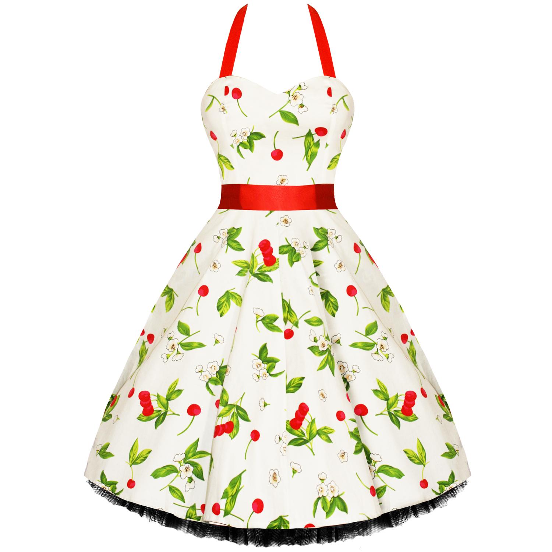 Damen 50er jahre kleid mit kirschen muster schwingend for Rockabilly outfit damen
