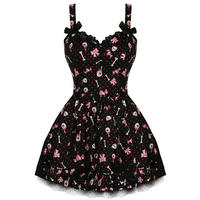 Hell Bunny Heartbreaker Ladies New Emo Hearts Skulls Party Prom Mini Dress